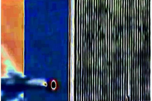 """<strong>Benoit Aquin,Impact de l'avion du vol 175 de la United Airlines sur le World Trade Center, New York, États-Unis, 11 septembre 2001 (série La dimension éthérique du réseau par Anton Bequii), 2019</strong> Digital pigment print Ed. 2 152x 229 cm (60"""" x 90"""")"""