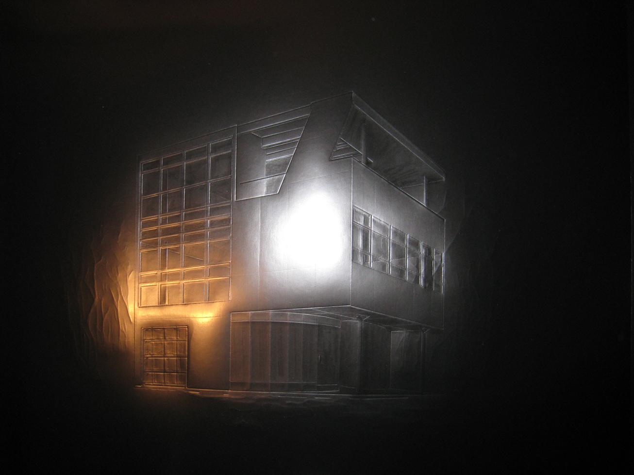 Jonathan Plante, Maison Aluminaire, série architexture, 2010, carton noir embossé, embossed black board, 23.5