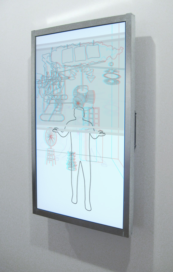 Jonathan Plante, Open Widow, 2011, vidéo d'animation sur écran LCD, boucle 90 sec, animation video on LCD screen, 90 sec