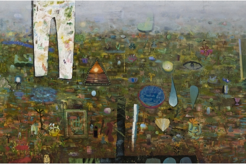 """David Lafrance, Un atelier à la campagne, 2014 Oil on canvas 183 x 274 cm (72"""" x 108"""") Collection of the Musée national des beaux-arts du Québec"""