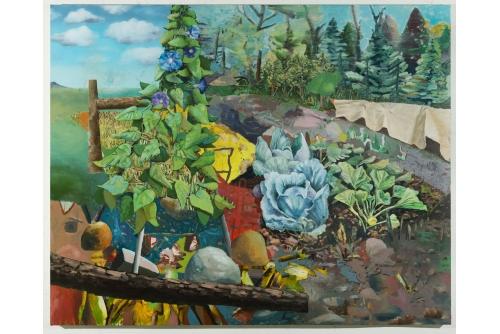 "David Lafrance, Jardin Bleu, 2020 Oil on canvas 183 x 229 cm (72"" x 90"") Private collection"