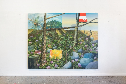 """David Lafrance, Obstruction au champ de trèfles, 2020 Oil on canvas 183 x 229 cm (72"""" x 90"""") Private collection"""