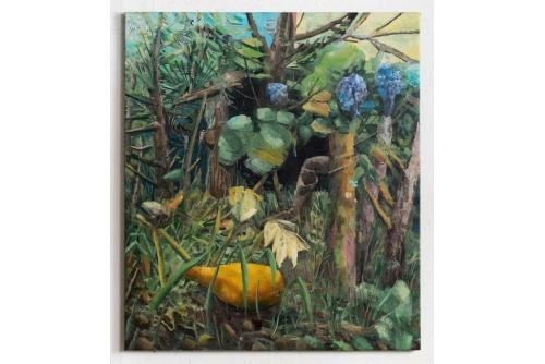"""David Lafrance, L'entrée de la forêt (courge), 2021 Huile sur toile 99,1 x 86,4 cm (39"""" x 34"""")"""