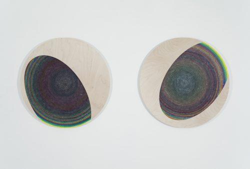 Julie Trudel, Ellipses en transit YCM, 2012, acrylique, gesso et encre de sérigraphie sur contreplaqué, acrylic, gesso and silkscreen ink on plywood, 29'' x 68'' (photo : Richard-Max Tremblay)