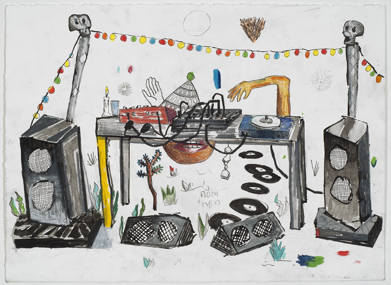 David Lafrance, Concert en plein air 04, 2012, crayon et encre sur papier, pencil and ink on paper, 11