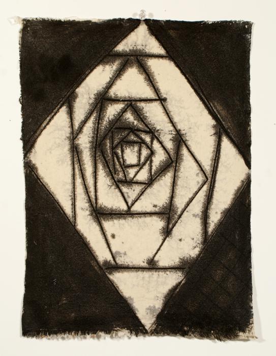 Marie-Claude Bouthillier, Mégalithe (pierre blanche), 2013, carbone et acrylique sur toile, carbon and acrylic on canvas, 15 1/2