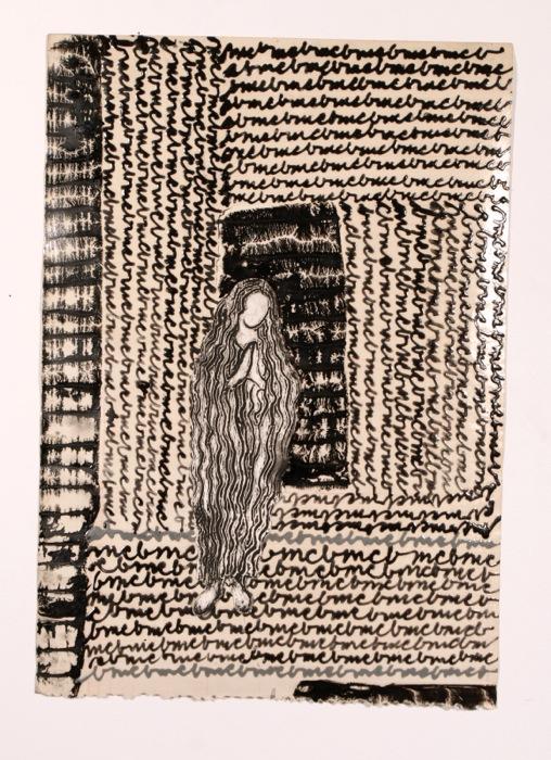 Marie-Claude Bouthillier, MM et Mégalithe, 2001-2013, encaustique, carbone, acrylique et huile sur papier, encaustic, carbon, acrilic and oil on paper, 15 1/2