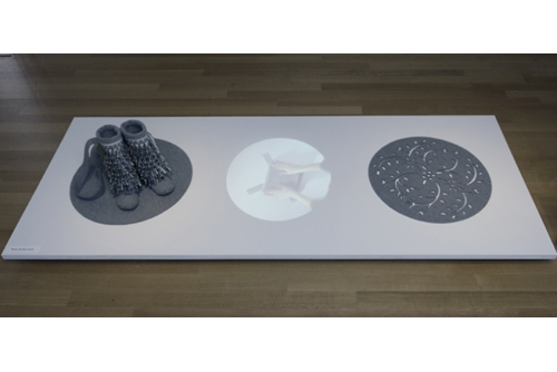 "Maria Hupfield, Pocket Full of Stars, 2012 Industrial felt, cotton thread and video 122 x 274 x 41 cm (48"" x 108"" x 16"" )"
