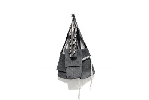 Maria Hupfield, Three Prototype Bags with Jingle Sach, 2010 Industrial felt, jingles