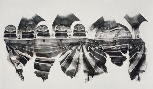 """Alain Paiement Grand Amphithéâtre - According to Horizon, 1989 Épreuve gélatino-argentique  Gelatin silver photograph 30"""" x 50"""" x 4"""""""