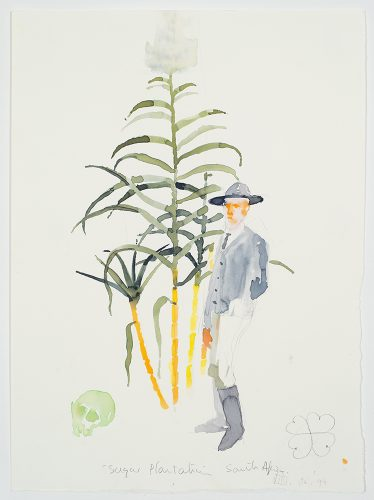 "Trevor Gould Sugar Plantation, South Africa, Leaf thief series, 1997 aquarelle sur papier watercolour on paper 38 x 28 cm (15"" x 11"")"