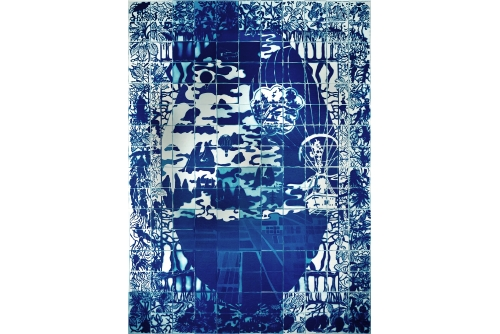 Karen Tam, Sinography, 2013 Cyanotype on paper 176 comp./15 x 15 cm 243 x 168 cm