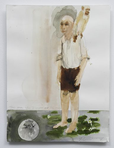 Trevor Gould The Man who Walked Over the Moon 2008 Aquarelle Watercolour 41 x 31 cm (16
