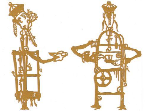 Karen Tam  Automata Tea Drinkers  2014 Papier doré découpé  Gold paper-cutout 38.5 x 28 cm (15