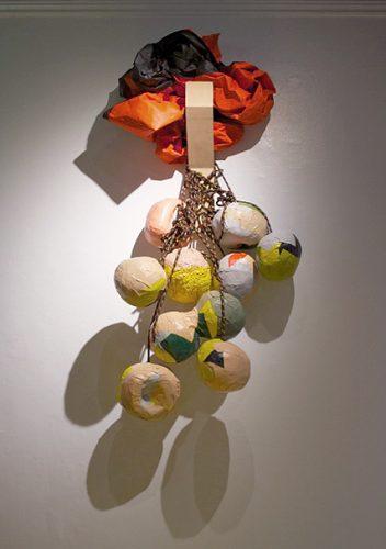 """Séripop (Yannick Desranleau et Chloe Lum), Untitled, 2014 Papier mâché, peinture, corde, bois, Tyvek Papier-mëché, paint, rope, wood, Tyvek Approx. : 122 x 76 cm (48"""" x 30"""")"""