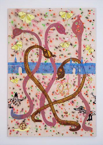 Cynthia Girard-Renard No Foreigners (série Nos maîtres les fous / Our Insane Masters), 2016 Acrylique sur toile Acrylic on canvas 2,75 m x 1,80 m (9' x 6')