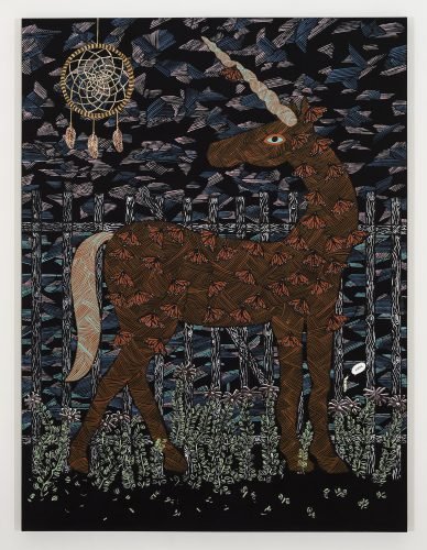 Cynthia Girard-Renard La dernière licorne, 2014 Acrylique sur toile Acrylic on canvas 182 x 137 cm (71 1/2