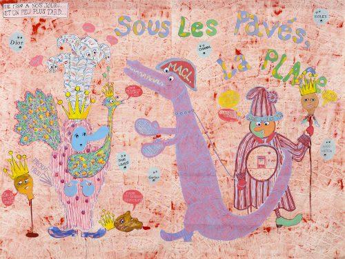 Cynthia Girard-Renard Sous les pavés, la plage, 2015 Acrylique sur toile libre de coton Acrylic on unstretched cotton canvas 224 x 287 cm (88'' 1/4 x 113'')