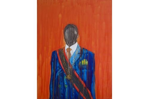 "Moridja Kitenge Banza, Persona, 2015 Ink on mylar 100 x 76 cm (39,25"" x 30"")"