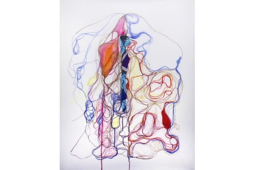 "Moridja Kitenge Banza, Chiromancie #8 No3, 2015 Ink and fabric on mylar 112 x 92 cm (44"" x 36,25"")"
