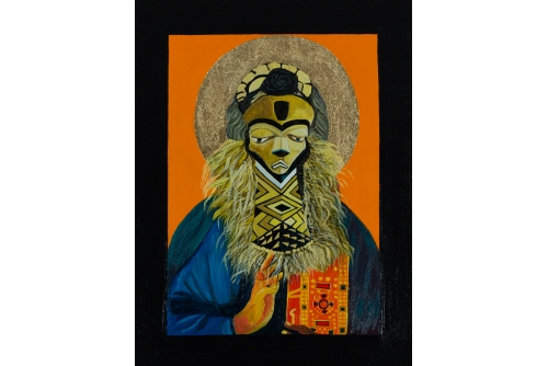 "Moridja Kitenge Banza, Christ Pantocrator #3, 2018 Acrylic on panel, gold leafs 40 x 30 cm (15,75"" x 11,75"") Private collection"