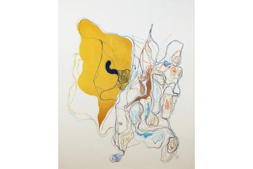 "Moridja Kitenge Banza, Chiromancie #9 No1, 2019 Ink on mylar 133x 107 cm (52"" x 42"")"