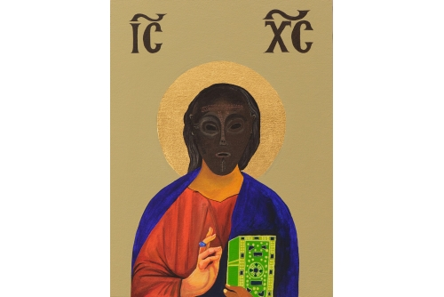 "Moridja Kitenge Banza, Christ Pantocrator No7, 2019 Acrylic on panel, gold leaf 40 x 30 cm (15,75"" x 11,75"")"