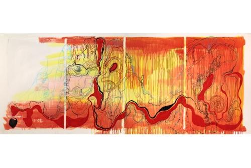 "Moridja Kitenge Banza, Chiromancie #10 No3, 2019 Ink on mylar 107 x 265 cm (42"" x 104"")"