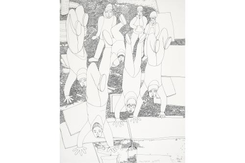 """Shuvinai Ashoona, Untitled, 2020 Encre sur papier (NON ENCADRÉE) 76 x 58,5 cm (30"""" x 23"""")"""
