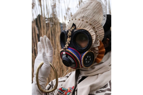 "Rajni Perera, I take a journey, you take a journey, we take a journey together / Mask 4, 2020 Textile, leather, beads, lace and thread on gasmask 30,5 x 30,5 x 21,6 cm (12"" x 12"" x 8,5"")"