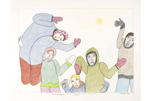 """Shuvinai Ashoona, Untitled (Sticking Their Tongues Out), 2012 Colour pencil and ink on paper 49,9 x 65 cm (19,6"""" x 25,6"""")"""