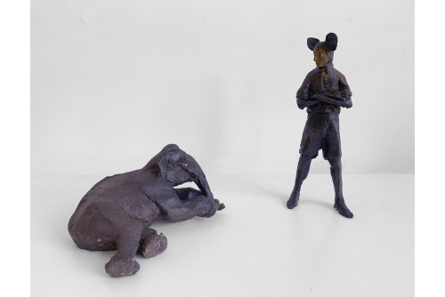 Trevor Gould, The Death of Eloquence, 2013 Bronze peint Painted bronze
