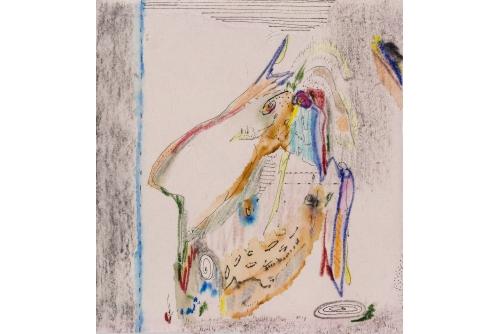 """Manuel Mathieu, Mermaid, 2019 Techniques mixtes sur papier 15,9 x 15,2 cm (6,25"""" x 6"""")"""