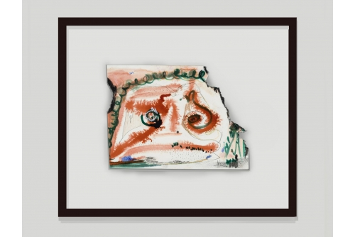 "<strong>Manuel Mathieu, Têt Grenn, 2019</strong> Mixed media on burnt paper 15,2 x 20,3 cm (6"" x 8"")"