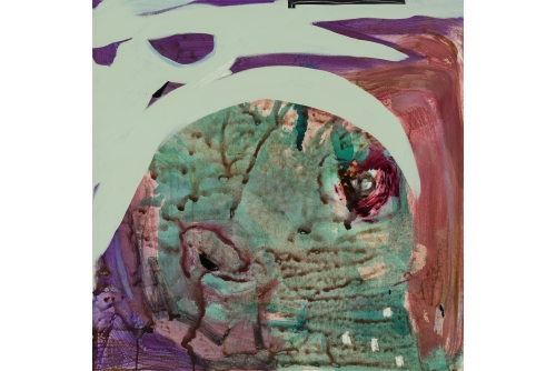 """Manuel Mathieu, The Green Skull, 2020 Mixed media on canvas 90 x 90 cm (35,5"""" x 35,5"""") RBC Collection"""