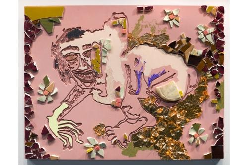"""<strong>Cindy Phenix, A Possible Retraction, 2019</strong> Céramique, feuille d'or, peinture acrylique, crayon de couleur et pastel sur polyuréthane 47 x 61 cm (18.5"""" x 24"""")"""