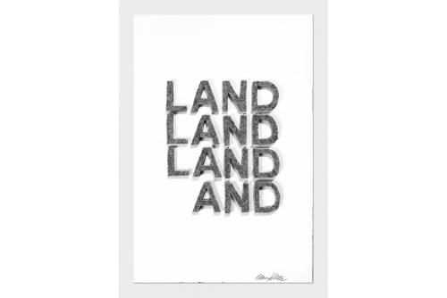 "Maria Hupfield, Land and…, 2020 Hand cut industrial felt on Arches paper 57 x 38 cm (22.5"" x 15"")"