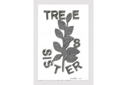 "Maria Hupfield, Tree Sisters, 2020 Hand cut industrial felt on Arches paper 57 x 38 cm (22.5"" x 15"")"