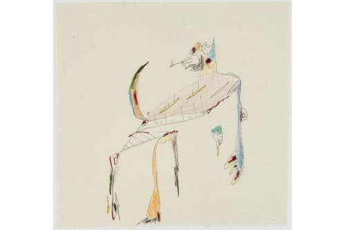 "Manuel Mathieu, Boner, 2019 Mixed media on paper [FRAMED] 22 x 23 cm (9"" x 9"")"