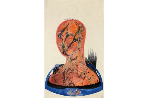 "Rajni Perera, Ripple Machine, 2020 Marbled papers, chalk, acrylic gouache, pencil on Yumashi paper (UNFRAMED) 48 x 29 cm (19"" x 11,5"") SOLD"
