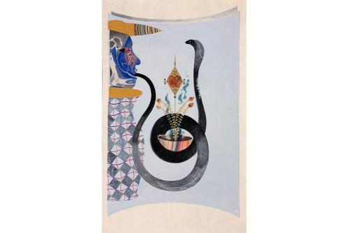 "Rajni Perera, Lies, 2020 Marbled papers, chalk, acrylic gouache, pencil on Yumashi paper 44,5 x 29 cm (17,5"" x 11,5"")"