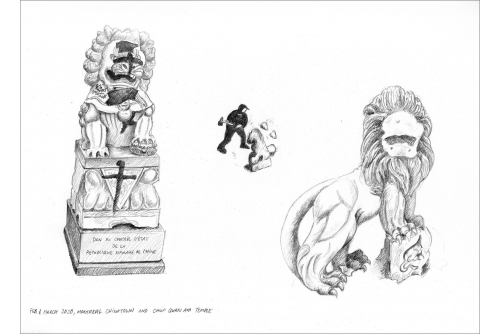 """Karen Tam, February and March 2020, Montreal Chinatown and Chua Quan Am Temple (Ruinscape Drawings series), 2020 Pencil on Strathmore (UNFRAMED) 22,86 x 30,48 cm (9"""" x 12"""")"""