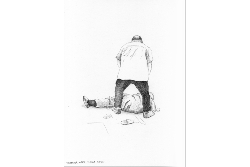 """Karen Tam, Vancouver, March 13, 2020 Attack (Ruinscape Drawings series), 2020 Pencil on Strathmore (UNFRAMED) 22,86 x 30,48 cm (9"""" x 12"""")"""