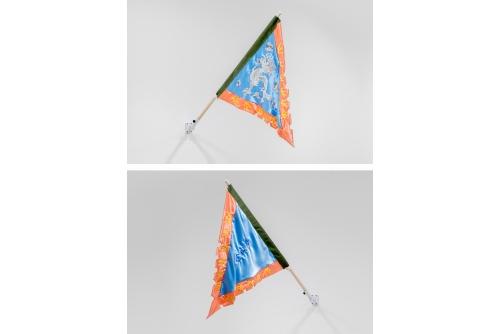 "<strong>Karen Tam, 金山夢 Gold Mountain Dreams (Flag), 2021</strong> Embroidery, sequins, satin, denim Flag : 81,28 x 88,9 cm (32"" x 35"") Pole : 130 cm (51″)"