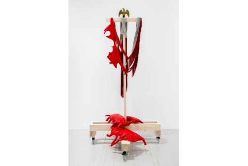 Maria Hupfield, Guts + Fringe, 2011 – Red vinyl, polyester fill, felt, found object, wood structure on wheels $18 000