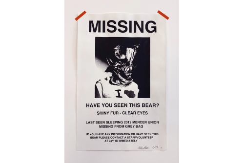 "Maria Hupfield, Missing Bear (Partial Recall), 2014 Hand printed silkscreen, red acid free tape (FRAMED) 43 x 28 cm (17"" x 11"") $1700"
