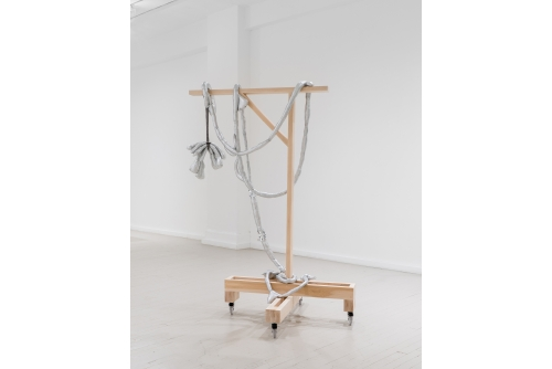 Maria Hupfield, Silver Tongue Taste of Progress, 2018 Silver lamé, polyester fill, industrial felt, wood structure on wheels ON HOLD