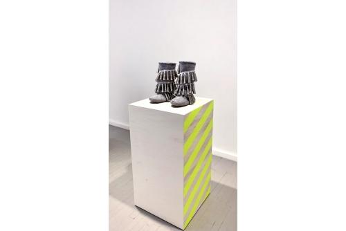 Maria Hupfield, Backwards Double Jingle Spiral Boots, 2012 Industrialfelt, jingles, tread Private collection