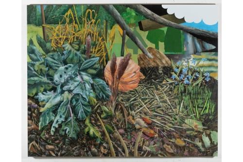 """David Lafrance, Vrai kale, faux nuage, 2021 Oil on canvas 182,9 x 228,6 cm (72"""" x 90"""")"""
