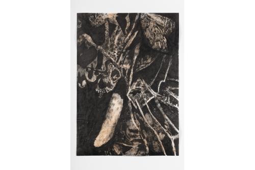 "David Lafrance, Concombre la nuit, 2021 Ink on paper (FRAME INCLUDED) 73,7 x 53,3 cm (29"" x 21"")"